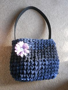 Crochet T-shirt purse with recycled belt.