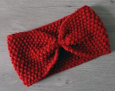 Headband rouge en laine - taille adulte