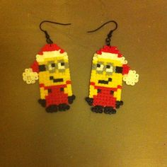 Christmas Minion earrings hama mini beads by nathinatha