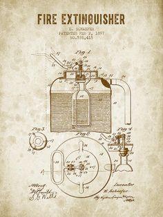 1897 Fire Extinguisher Patent - Vintage Brown Digital Art