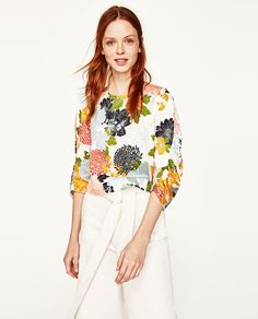 PRINTED TOP WITH FULL SLEEVES-Blouses-TOPS-WOMAN | ZARA United States