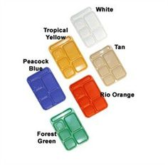 Amazon.com: Food Service Rectangular Compartment Lunch Tray, 6 Compartment, Right-handed, White, ABS Plastic Material, One Dozen (12) Trays Per Case: Kitchen & Dining