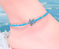 Blue star anklet, starfish anklet, silver anklet, beach jewelry, trending now Silver Anklets, Beaded Anklets, Boot Jewelry, Boho Boots, Hanging Beads, Boot Bling, Ankle Chain, Southwest Jewelry