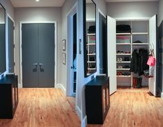 In this room, we painted the doors Benjamin Moore Anchor Gray, and the walls are Benjamin Moore Nimbus.