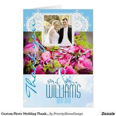 Custom Photo Wedding Thank You Card Winter Damask