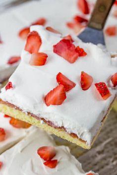 Strawberry Chiffon Sheet Cake Summer Potluck, Chiffon, Strawberry, Cheesecake, Cheesecake Cake, Cheese Cakes, Sheer Chiffon, Strawberry Fruit, Cheesecakes