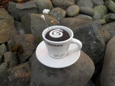 Needle Felted Mini Cappuccino Cup Pin Cushion by Tami Medwid