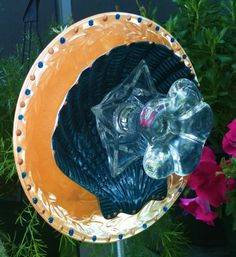 Garden Decor Glass Plate Flower For Your Spring by pollysyardart, $30.00