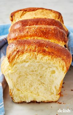 If you love butter, you'll live for this brioche bread. Get the recipe from Delish.com. #brioche #bread #recipe #homemade #howtomake #best #easy #buttery #loaf #sweet
