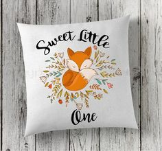 Sweet Moments Fox Pillow - This fox print pillow makes a beautiful addition to your babies nursery. This fox pillow is perfect for new baby gifts, birth announcements, photo day, nursery decor and mor
