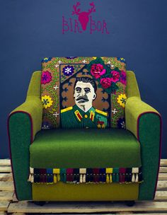 Embroidered Portrait of Stalin. Suzani on a vintage armchair Eclectic Interior