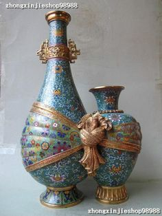 Royal 100 Bronze Cloisonne 24K Gold Palace Bloom Lucky TWO Siamese POT Vase | eBay
