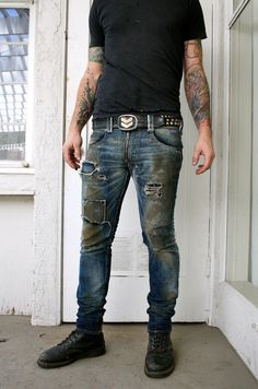 Salvage Raw Cone Denim Pant Distressed Dirty by BoneBlack on Etsy, $312.00