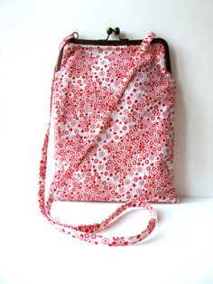 Red Floral Metal Frame Purse by jujujust on Etsy