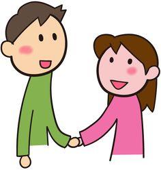 手をつなぐ 手をつなぐと笑顔になる カップル イラスト素材