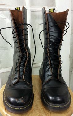Vintage Doc Marten Black 1914 Made in England 14 eye Boots #DrMartens #Boot