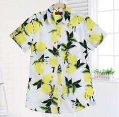Dioufond Verão Camisas Das Mulheres Blusa de Manga Curta Blusa de Algodão Mulheres Limão Imprimir Turn Down Collar Camisas Blusas Brancas do Sexo Feminino