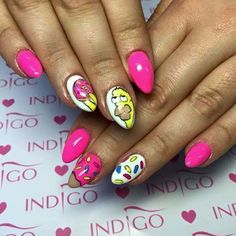 Popstar, Vanilla Nude, Cookie Monster Gel Brush, Limincello Gel Polish + Paint Gel by Sonia z Madeleine Studio,  Indigo Wrocław #nails #nail #pink #icon #simpson#indigo #cartoon #gelpolish #nailart