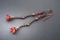 boho floral earrings • red orange flower glass beads • oxidized copper • elongated earrings • retro • romantism • light weight • entre2et7 by entre2et7 on Etsy