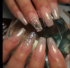 Nail art design ideas | with glitter | for summer| long nails
