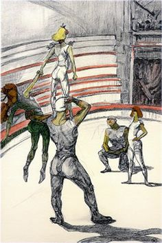 """Artist: Henri Toulouse Lautrec Title: The Circus Portfolio Year: 1990 (After) Medium: Lithograph Edition: 350 Paper Size: 16-3/4"""" x 12-1/2"""" Price: $150"""