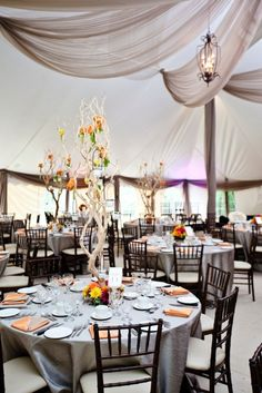 Silver and orange wedding