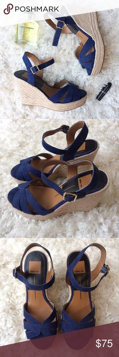Dolce Vita Espadrille Wedges Absolutely gorgeous blue suede espadrille wedges by Dolce Vita. These wedges look and feel so luxe! They look fabulous and at the same time are comfortable. In perfect condition as they have only been worn once, I'm just not a wedges girl! True to size. Bundle & save. 😊 Dolce Vita Shoes Wedges