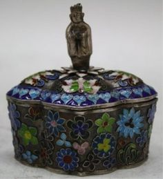 Cloisonne box with figural finial, silver and enamel, China, nineteenth century