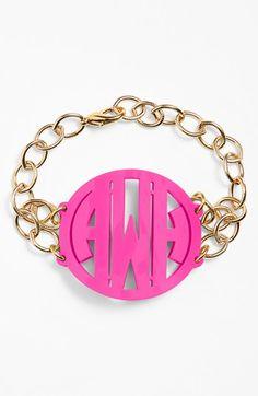 Pink and gold monogram bracelet