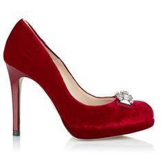 L.K.Bennett red velvet shoes - christmas glam
