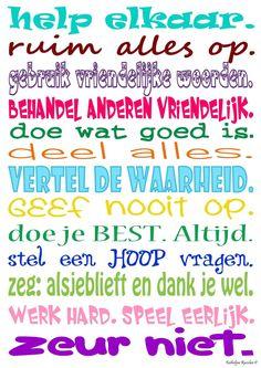 klassenregels - OneDrive Classroom Rules, School Classroom, Positive Behavior Support, Learn Dutch, Coaching, Starting School, Leader In Me, Dutch Quotes, School Posters