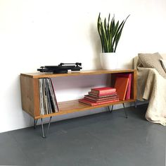 Stanton Medium 120cm Wide Record Player Stand Vinyl Storage