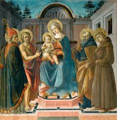 Alesso Baldovinetti : Madonna and Child with Saint Zenobius, John the Baptist, Saint Anthony and Francis of Assisi (Louvre Museum)  1425-1499 アレッソ・バルドヴィネッティ
