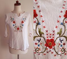 Vintage Peasant Blouse  1970's  by PaperdollVintageShop on Etsy