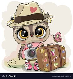 Illustration about Cute Cartoon Owl tourist in a hat with luggage. Illustration of print, bird, tour - 143282345 Cartoon Cartoon, Cute Cartoon Girl, Cute Cartoon Animals, Cartoon Images, Cute Animals, Baby Painting, Painting For Kids, Tourist Hat, Cartoon Mignon