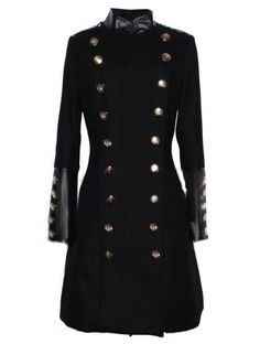 Black Long Sleeve Contrast Leather Buttons Coat.  It be Very Nice!
