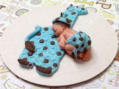 Fondant Baby with Giraffe Cake Topper Baby. shower/Birthday