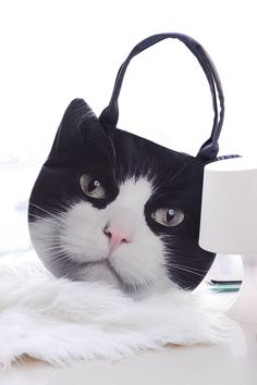 Black+and+White+cat+cat+bag+cat+purse+cat+bag+tote+by+BENWINEWIN