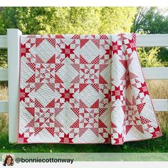 How beautiful is this Red and White confection from Bonnie of Cotton Way - @bonniecottonway! The quilt is Wish Upon A Star - check Bonnie's Instagram for a little bonus.  #showmethemoda #modafabrics