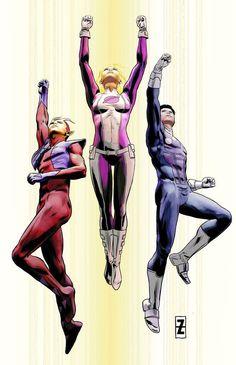 Comic Book Artists, Comic Books Art, Comic Art, League Of Heroes, Dc Heroes, Superhero Characters, Dc Comics Characters, Ultra Boys, Saturn Girl
