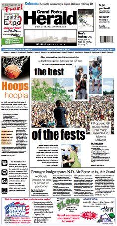 March 22, 2014 #GrandForksHerald #Newspaperdesign #Frontpage #JanelleVonasek