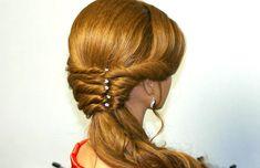 Easy romantic hairstyles for medium long hair.  Легкая романтическая при...