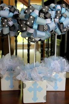 New Baby Boy Baptism Decorations Christening Center Pieces Ideas Christening Themes, Christening Party, Baptism Party, Decoration Communion, Baptism Decorations, Christening Centerpieces, Theme Bapteme, Ribbon Topiary, Baby Boy Baptism