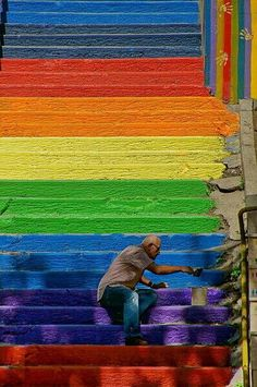 Rainbow steps Istanbul Turkey. Simple man spent huge amount to brighten his community
