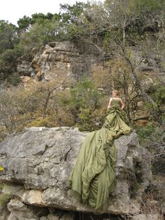 recycled parachute dress designed by Kari Perkins.