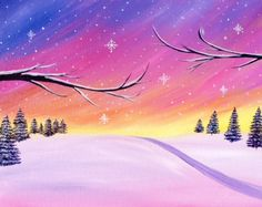 Paint Nite: Discover a new night out and paint and sip wine with friends Winter Painting, Winter Art, Winter Sunset, Pictures To Paint, Art Pictures, Wine And Canvas, Paint And Sip, Christmas Paintings, Paint Party