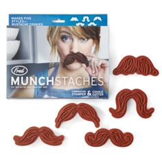 Munchstaches cookie cutters with stamp on one side from Z Gallerie