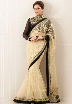 Cream Net Lehenga Style Saree with Blouse Online Shopping: Lehenga Style Saree, Net Lehenga, Saree Blouse, Saree Belt, Lehenga Saree, Indian Designer Sarees, Indian Sarees, Indian Designers, Pakistani