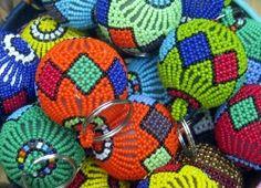 Beaded African Christmas Balls