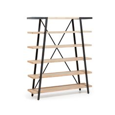 Elisa Acacia Wood & Metal Bookshelf by Linea Furniture. Get it now or find more Bookcases & Shelving Units at Temple & Webster. Rustic Bookshelf, Modern Bookshelf, Wood Bookshelves, Ladder Bookcase, Timber Shelves, Wall Shelves, Shelving, Etagere Design, Design Industrial
